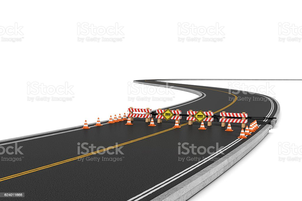 Rendering of road closed with barriers, traffic cones and caution stock photo