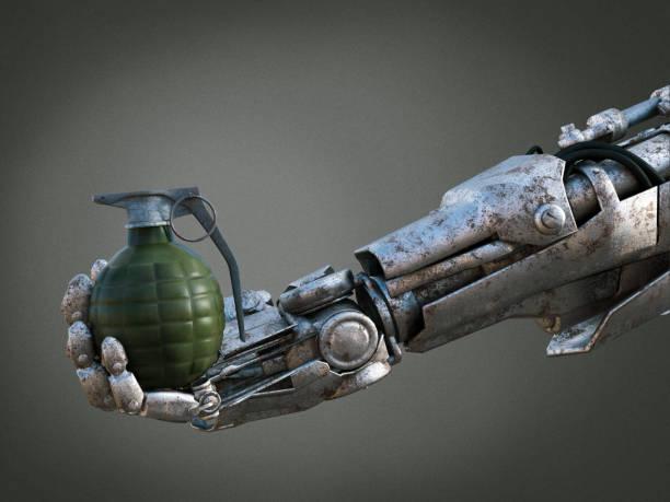 3D rendering of robot hand holding grenade. stock photo
