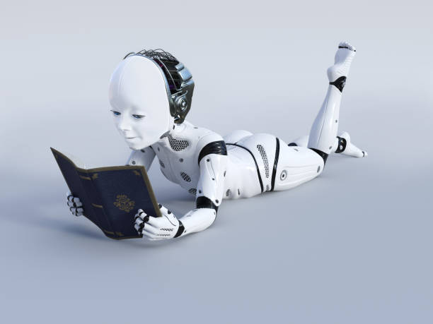 3D rendering of robotic child reading a book. stock photo