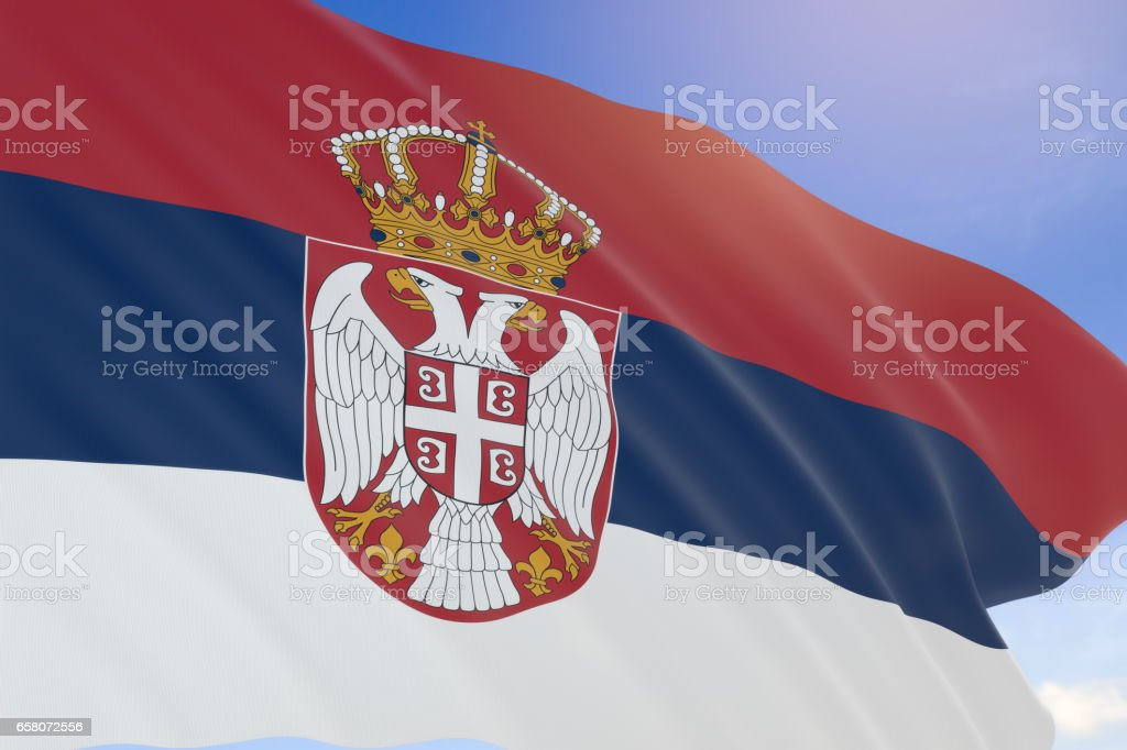 3D rendering of Serbia flag waving on blue sky background - fotografia de stock