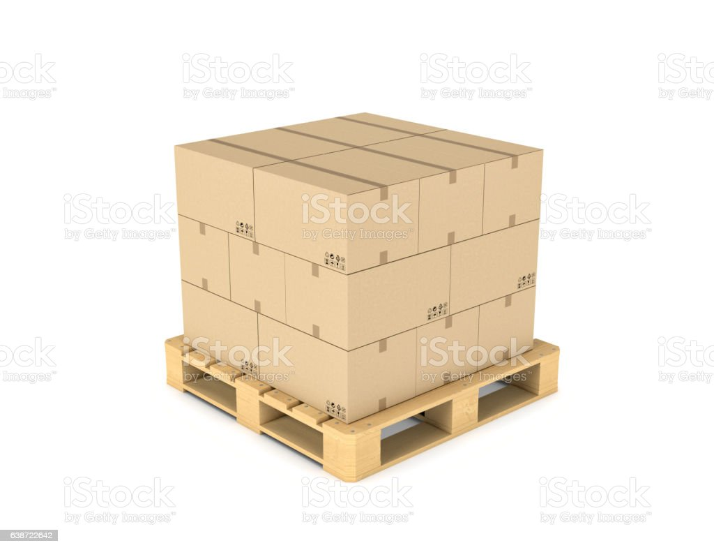 Rendering of several carton boxes stacked evenly on a double - Photo