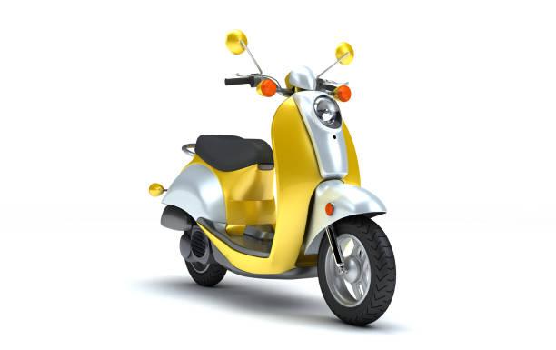 rendu 3d d'éclat jaune et chrome rétro moteur scooter isolé sur fond blanc. vue en perspective de moto vintage - moped photos et images de collection