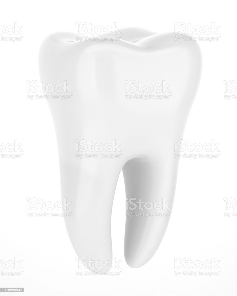 3D rendering of shiny human tooth on white background stock photo