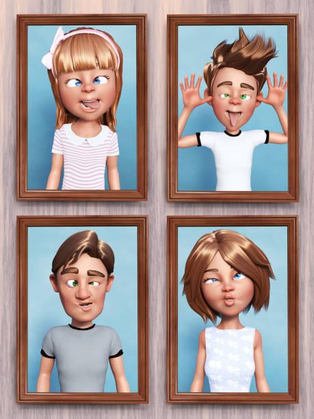 3D-Darstellung von albernen Cartoon-Familienporträts an der Wand. – Foto