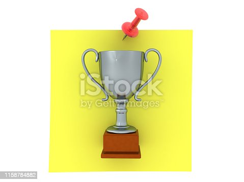 3D Rendering of silver trophy on yellow sticky note. 3D Rendering isolated on white.