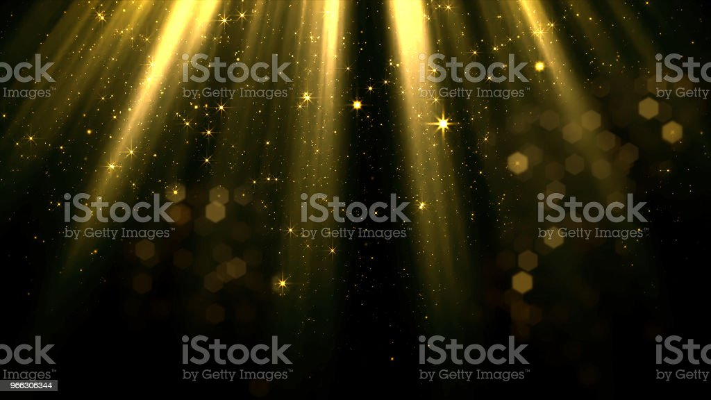 3D rendering of smoothly falling particles and bokeh from the stream of soft top light stock photo