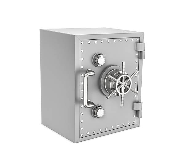 rendering of steel safe box, isolated on white background - bankgeheimnis stock-fotos und bilder