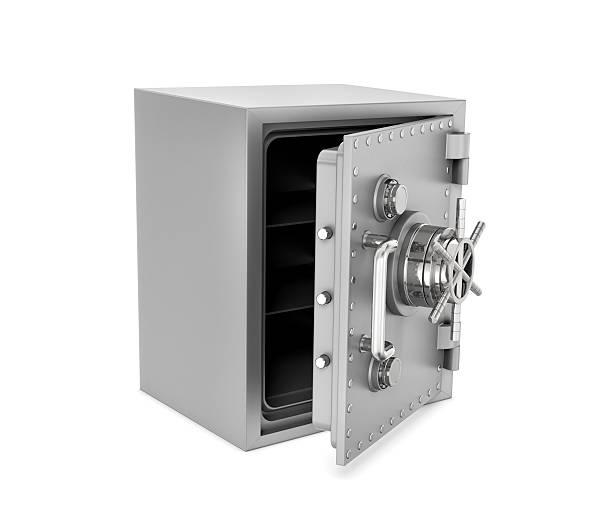 rendering of steel safe box with open door, isolated on - coffre fort équipement de sécurité photos et images de collection