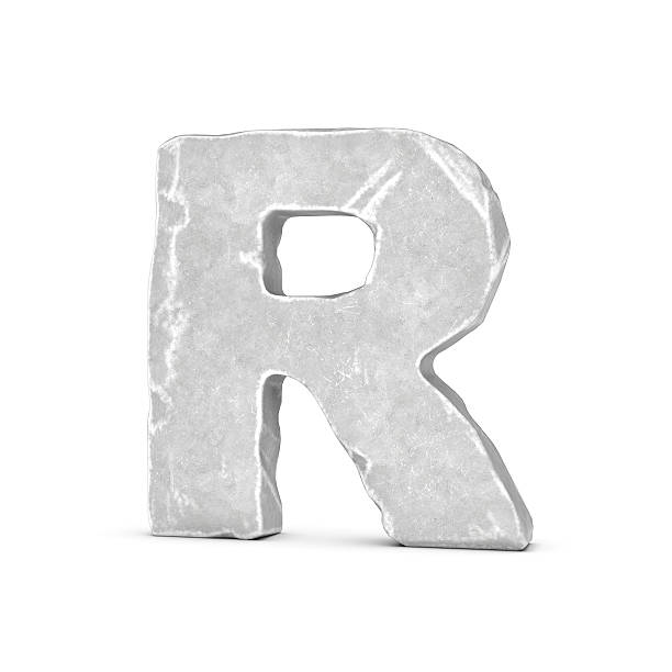 rendering of stone letter r isolated on white background. - stone font stock photos and pictures