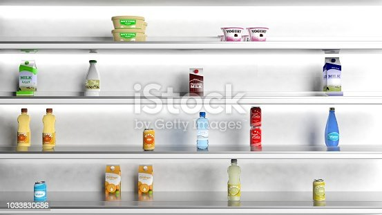 istock 3D rendering of supermarket shelves 1033830686