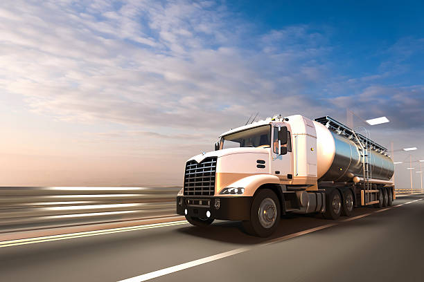 3D rendering of Tanker on the road at dawn stock photo