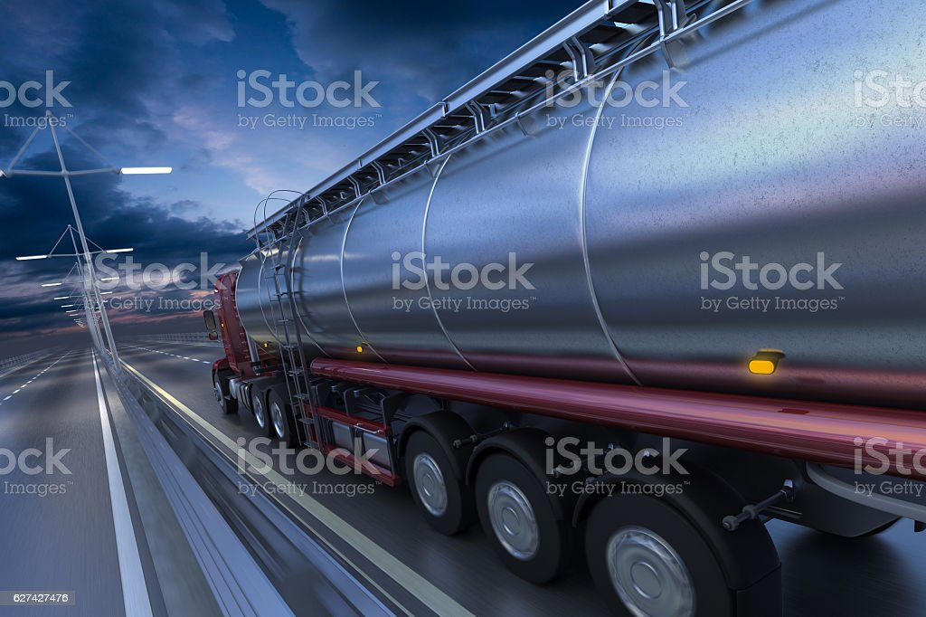 3D rendering of Tanker on the road at dawn – Foto