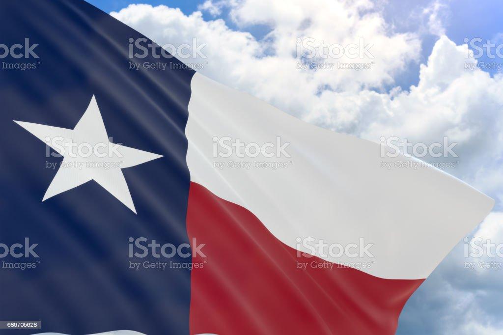 Render 3D de la bandera de Texas ondeando sobre fondo de cielo azul - foto de stock