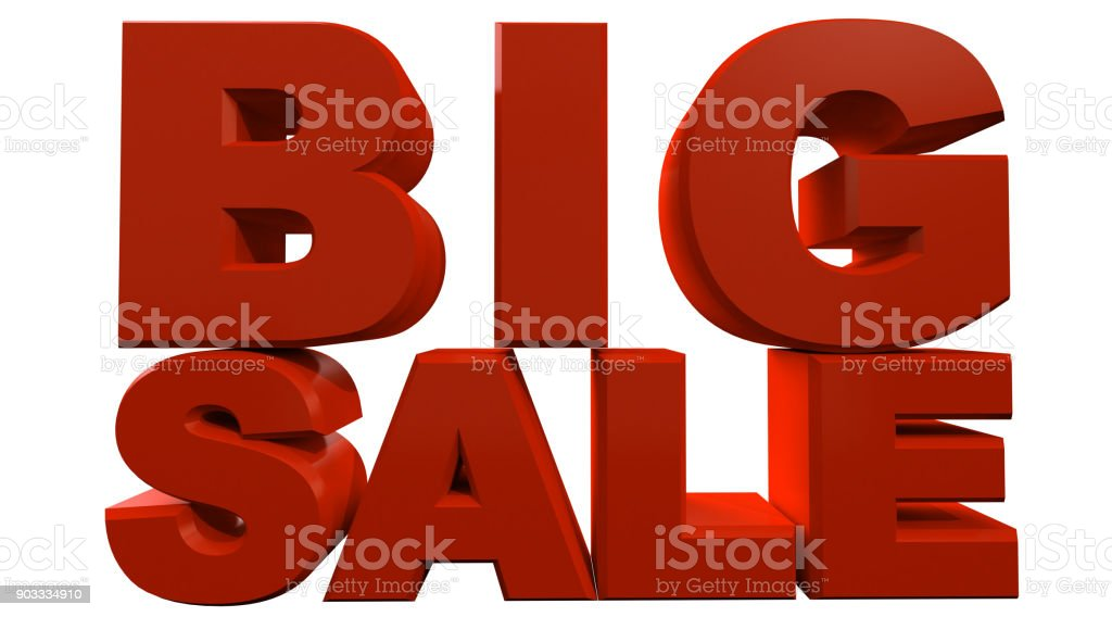 3D rendering of text big sale isolated on white background. stock photo