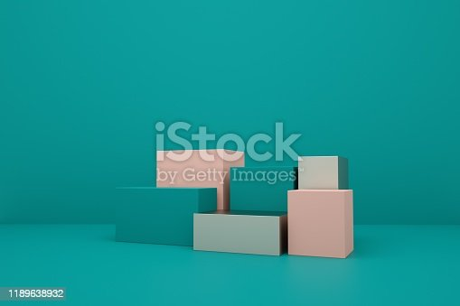 697820188 istock photo 3D rendering of the blue geometric background can be used for commercial advertising 1189638932