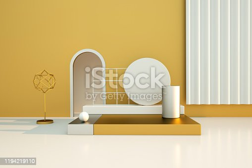 950775710 istock photo 3D rendering of the colorful geometric background. Geometric shapes in modern minimal design. 1194219110