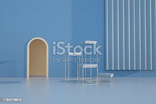 950775710 istock photo 3D rendering of the colorful geometric background. Geometric shapes in modern minimal design. 1194219915