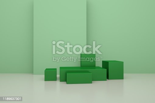 697820188 istock photo 3D rendering of the green geometric background can be used for commercial advertising 1189637301