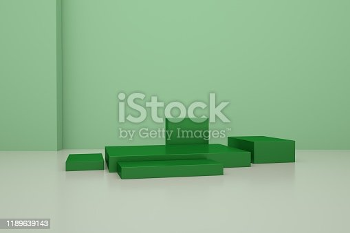697820188 istock photo 3D rendering of the green geometric background can be used for commercial advertising 1189639143