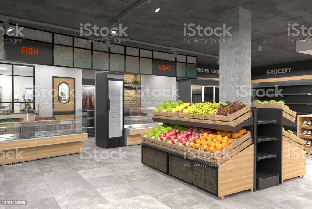 3d Rendering Of The Interior Of A Grocery Store Stock Photo