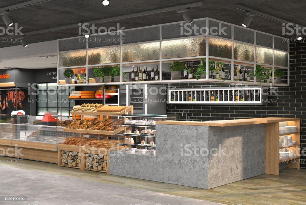 Rendu 3D de l'intérieur d'une épicerie. - Photo de Aliment libre de droits