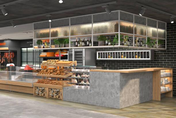 rendu 3d de l'intérieur d'une épicerie. - architecture intérieure beton photos et images de collection