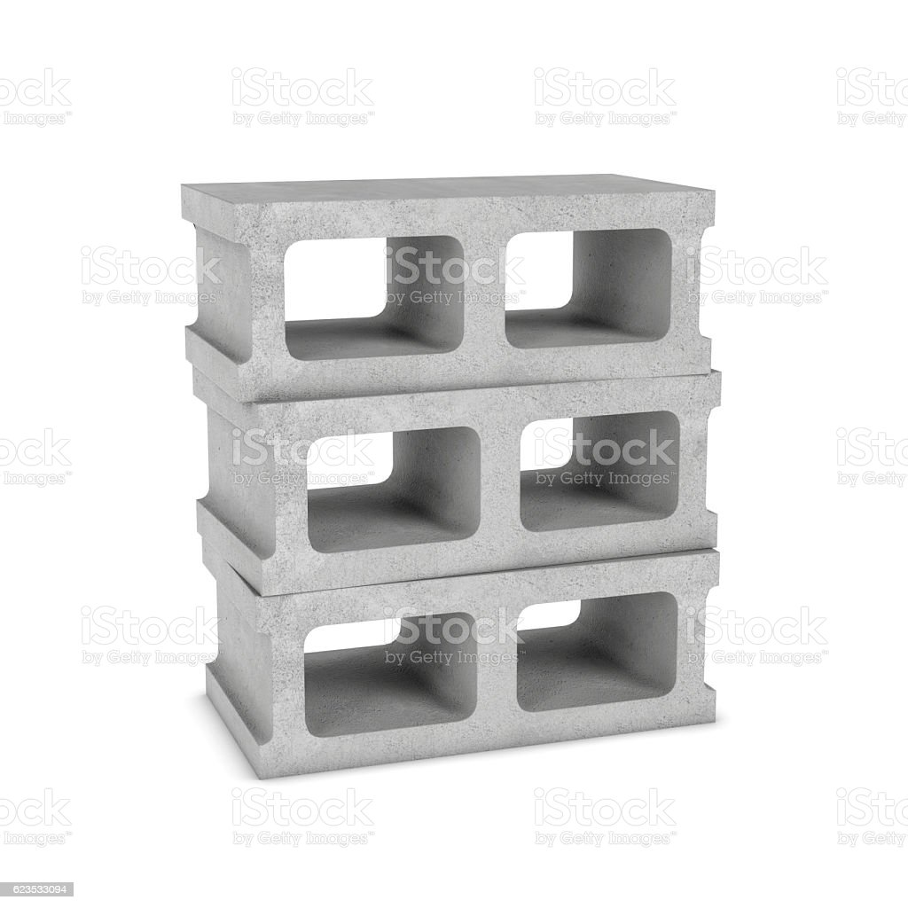 Rendering of three cinder blocks isolated on the white background stock photo