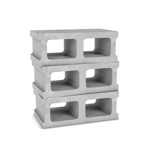 rendering of three cinder blocks isolated on the white background - hohl stock-fotos und bilder