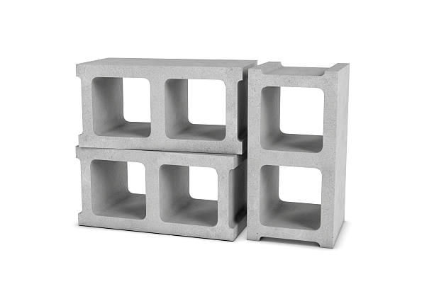 rendering of three cinder blocks isolated on white background - bloques de cemento fotografías e imágenes de stock