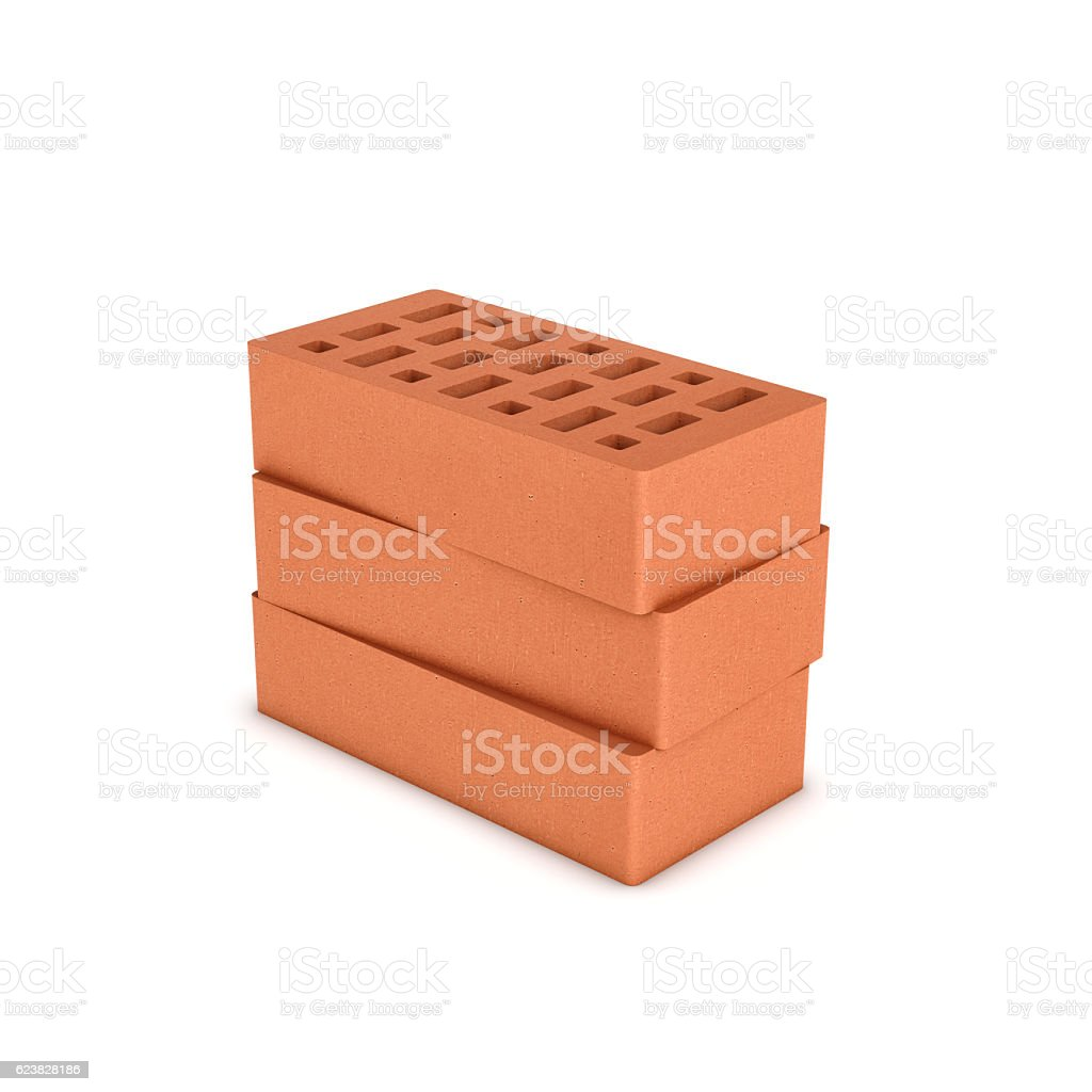 Rendering of three face bricks isolated on a white background stock photo