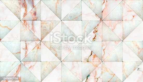 3D rendering of triangle shape panels, Material white marble for your project or interior design decorative tile & elements, High quality seamless realistic texture background.