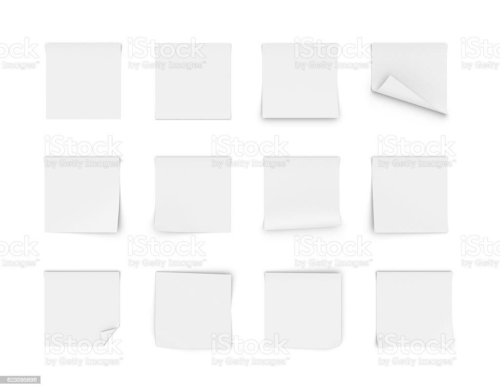 Rendering of twelve blank white stickers stock photo