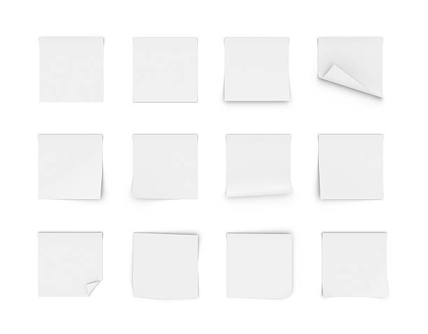 rendering of twelve blank white stickers - curled up stock pictures, royalty-free photos & images