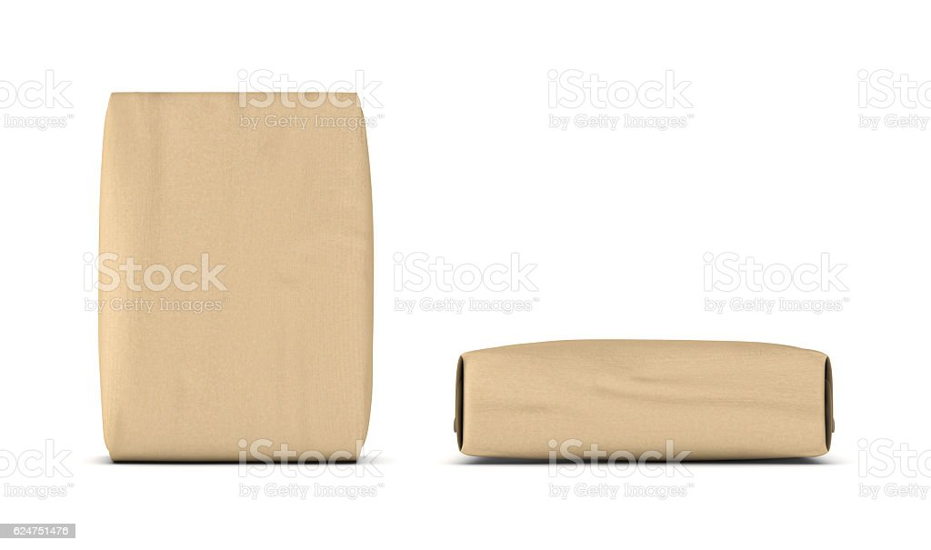 rendering of two light beige cement sacks side and front 3dの