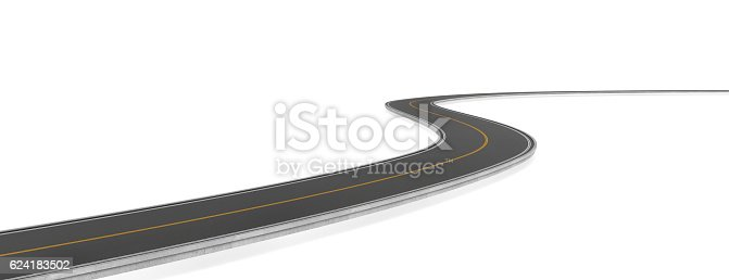istock Rendering of two-way road bending, on white background. 624183502