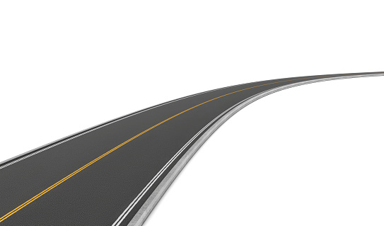 istock Rendering of two-way road bending to right on white 624751578