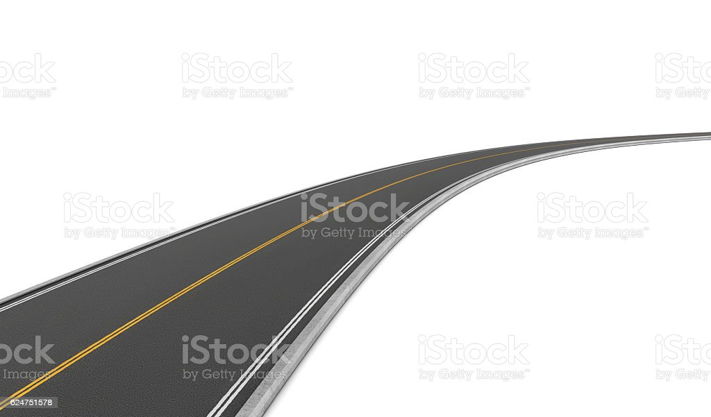 Rendering of two-way road bending to right on white vector art illustration