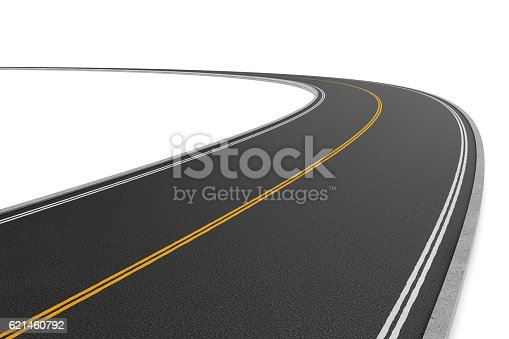 istock Rendering of two-way road bending to the left on 621460792