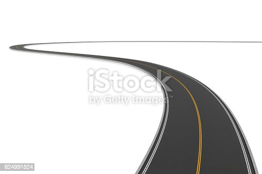 istock Rendering of two-way winding road bending to the left 624991524