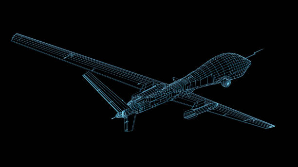 3D Rendering of UAV Drone shown with wireframe stock photo