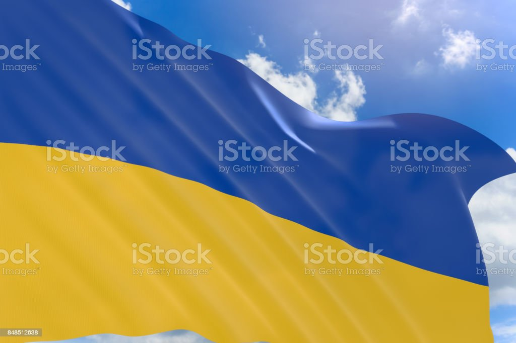 3D rendering of Ukraine flag waving on blue sky background stock photo