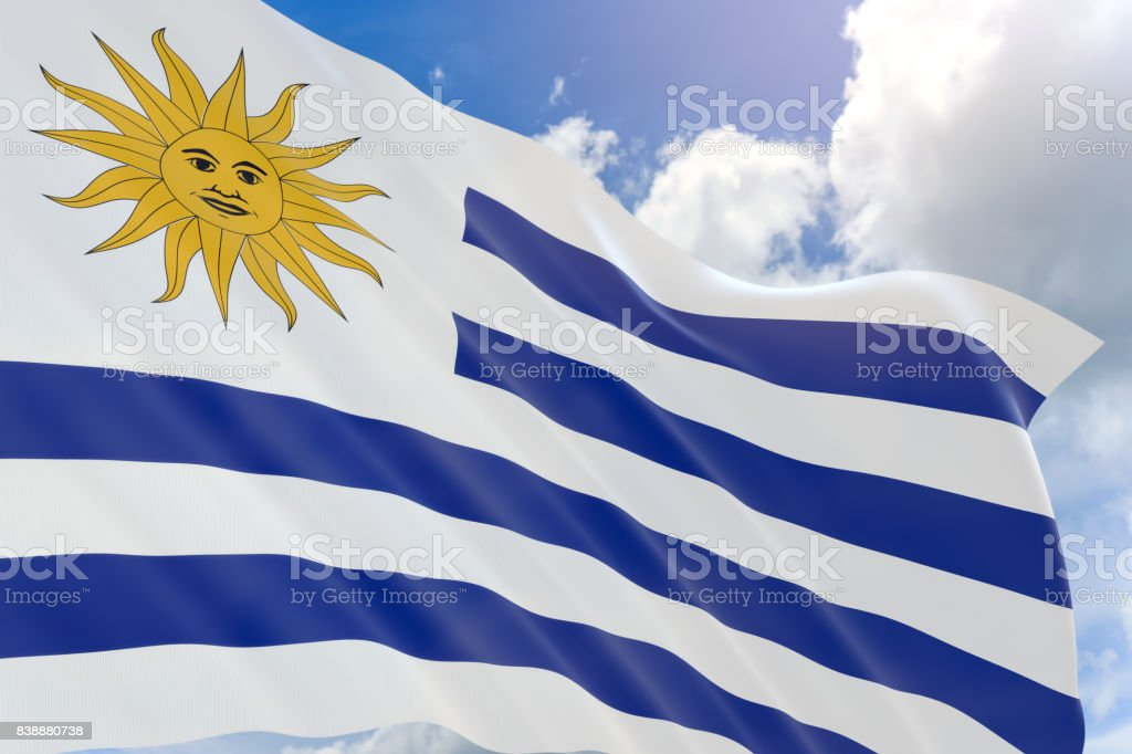 3D rendering of Uruguay flag waving on blue sky background stock photo
