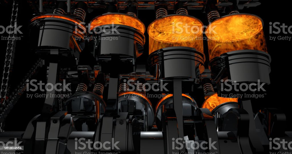 3D Rendering of V8 engine with explosions - Zbiór zdjęć royalty-free (Aluminium)