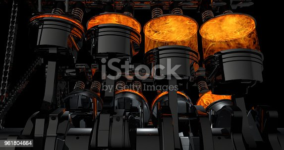 istock 3D Rendering of V8 engine with explosions 961804664