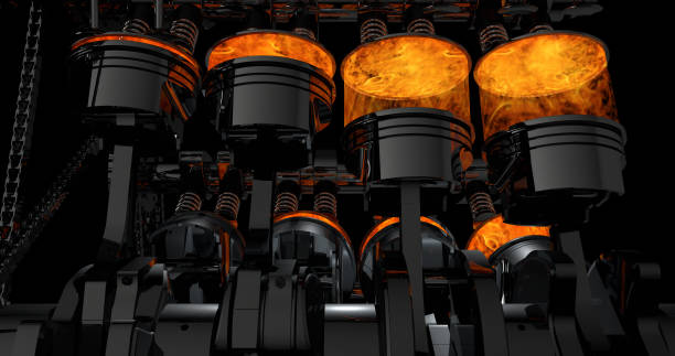 3d rendering of v8 engine with explosions - motore foto e immagini stock