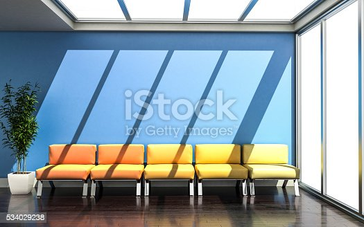 istock 3D rendering of waiting room with vivid colors 534029238