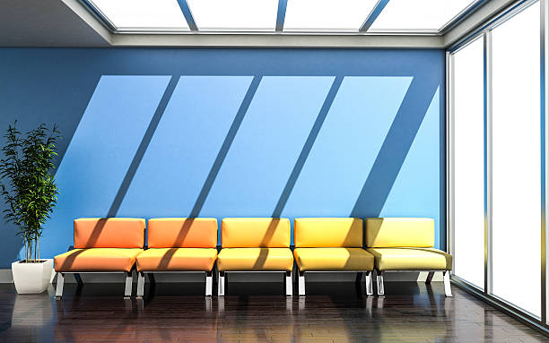 3D rendering of waiting room with vivid colors stock photo