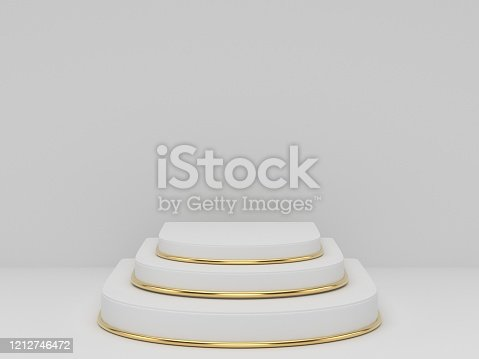 3D rendering of white gold pedestal podium on clearly background, abstract  minimal podium blank space for beauty cosmetic product,Clean design luxury minimalist mockup stage round pillar stand scene,