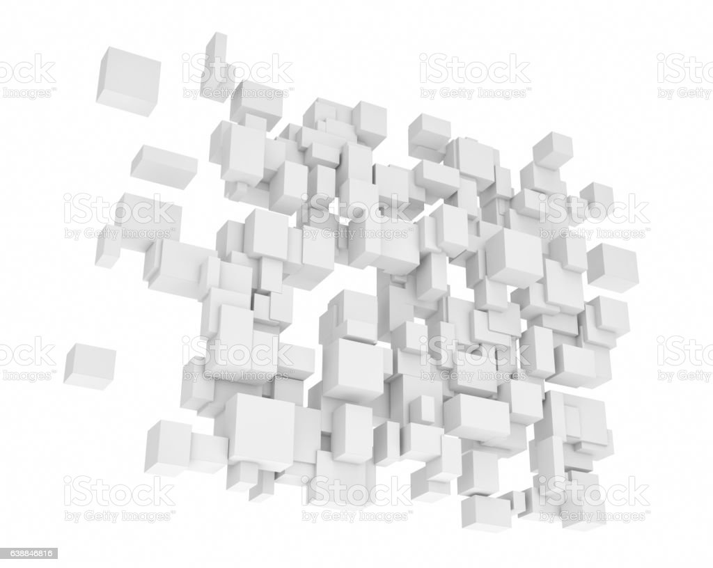 Rendering of white square and rectangle blocks hanging vertically stock photo