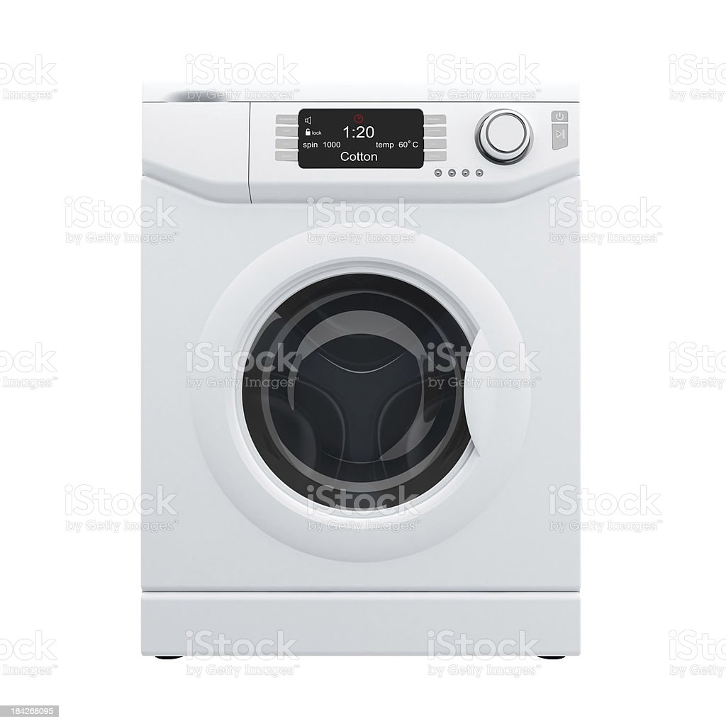 3D rendering of white washing machine, front view stock photo